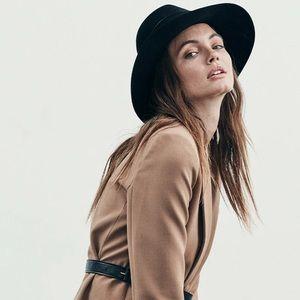 Janessa Leone Black Wool Fedora M